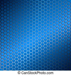 Blue abstract background with metal grid of hexagons.