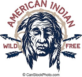 American indian head, emblem, t-shirt graphic.