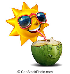 Summer Refreshment - Summer refreshment icon as a happy sun...