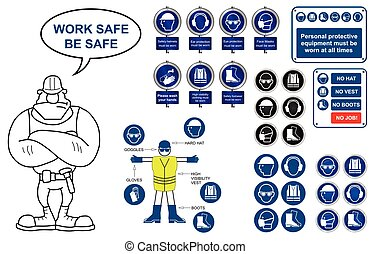 Health and Safety Icons and signs - Mandatory construction...
