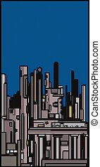 modern city skyline with bubbles