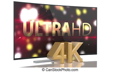 UltraHD Smart Tv with curved screen on white background...