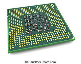 processor - 3d illustration of processor bottom view