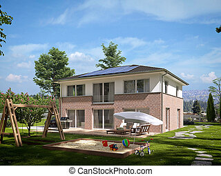 modern townhouse. 3d rendering - modern townhouse with a lot...