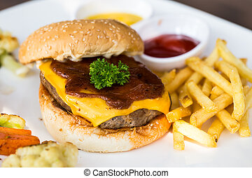 Beef Burger - Beef burger with cheddar cheese and sauce.