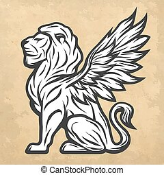 Lion statue with wings. Vintage style.