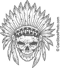 Indian skull with feathers. Vector art. Dot texture is on a...