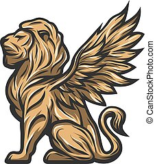 Golden statue of a lion with wings.