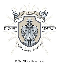 The emblem of the Middle Ages - Knight in armor The emblem...