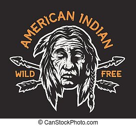 Native american indian head - Native american indian head,...
