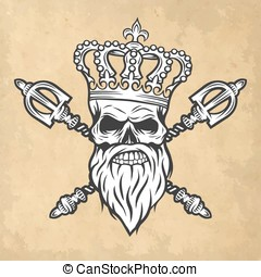 Skull, crown and scepter. Line art style. - Skull crown and...
