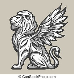 Lion statue with wings.