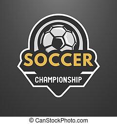 Soccer sports logo, label, emblem.