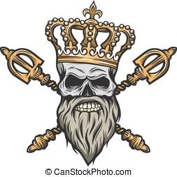 Skull, crown and scepter. Color version. - Skull, crown and...