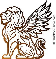 Mythological lion statue with wings.