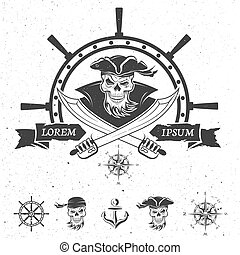 Pirate emblem and design elements. Vector illustration.