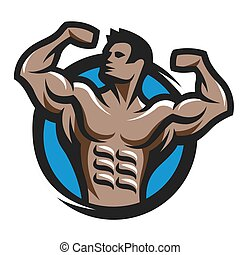 Posing bodybuilder simbol, logo, emblem. - Posing...