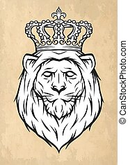 The head of a lion with a crown.