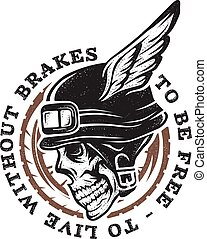 Skull biker helmet with wings.