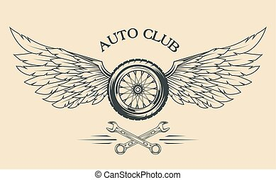 Wheels and  wings vintage emblem.