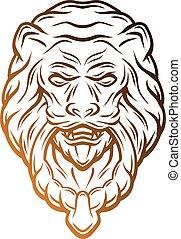 Golden lion head door knocker.