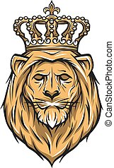 Lion with a crown. Color version. - The head of a lion with...