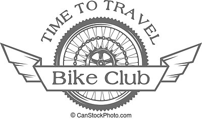 Wheel emblem on the topic of bicycles.
