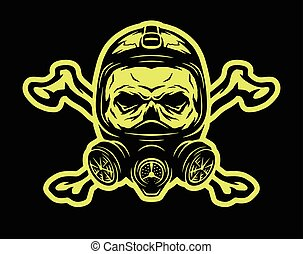 Skull wearing a gas mask and crossbones. - Skull wearing a...