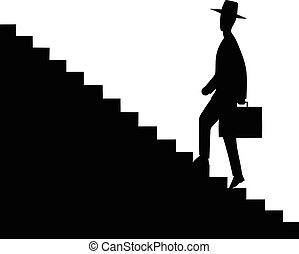 Man getting upstairs - This is an illustration of man...
