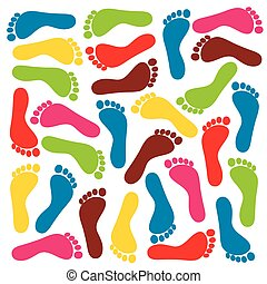 colorful footprints - vector
