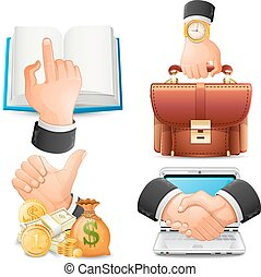 Achieve the goal in business, handshake icons vector