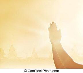 respeto, y, rezando, Manos, en, el, templo, Plano de fondo