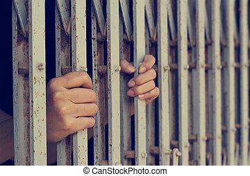 Manos, de, mujer, Quién, era, encarcelado,