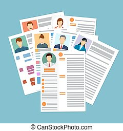 Cv concept resume with photo, documents. Employment...