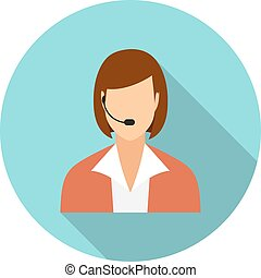 Call center operators, female avatar icons. vector...