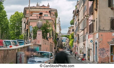 Rome, Italy: Streets of Rome with people engaging in daily activity timelapse.