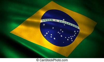 Brazilian Flag waving in wind sea - Flag of Brazil Loopable...
