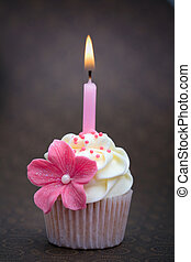 Birthday cupcake - Cupcake decorated with a pink sugar...