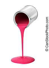 Metal tin can pouring red paint