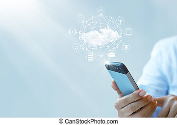 Businessman working with a Cloud Computing on Smartphone