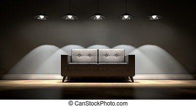 Modern Couch And Retro Lights