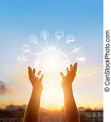 Hands holding circle global network connection, Omni Channel...