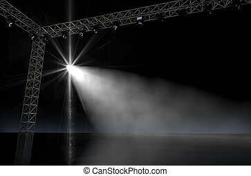 Empty Stage Spotlit - A 3D render of an empty music concert...