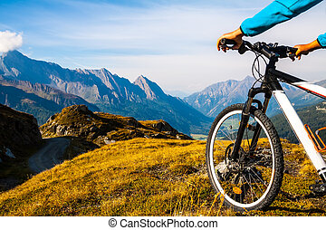 Active lifestyle concept - Mountain bike wheel and sommer...