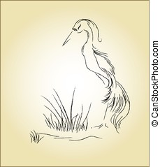 Heron in the swamp - Vector heron in the swamp
