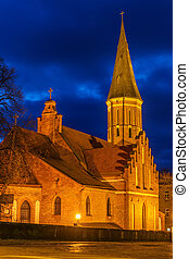 Kaunas, Lithuania: Vytautas the Great Church at night -...