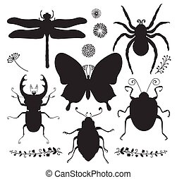 Vector Collection of Black Hand Drawn Insect Shapes