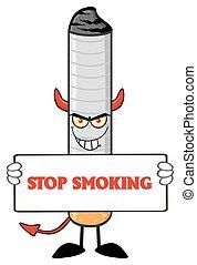 Devil Cigarette Holding A Sign
