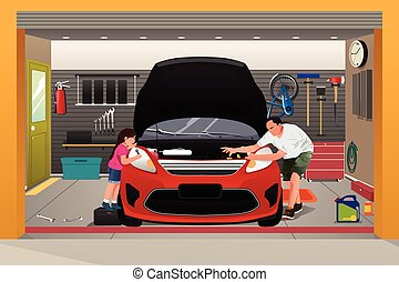 Father Daughter Repairing Car - A vector illustration of...