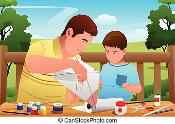 Father Son Making Kite - A vector illustration of father...